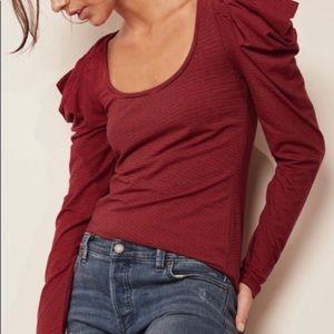 Free People Penelope Puffed Sleeve T-Shirt Top NWT